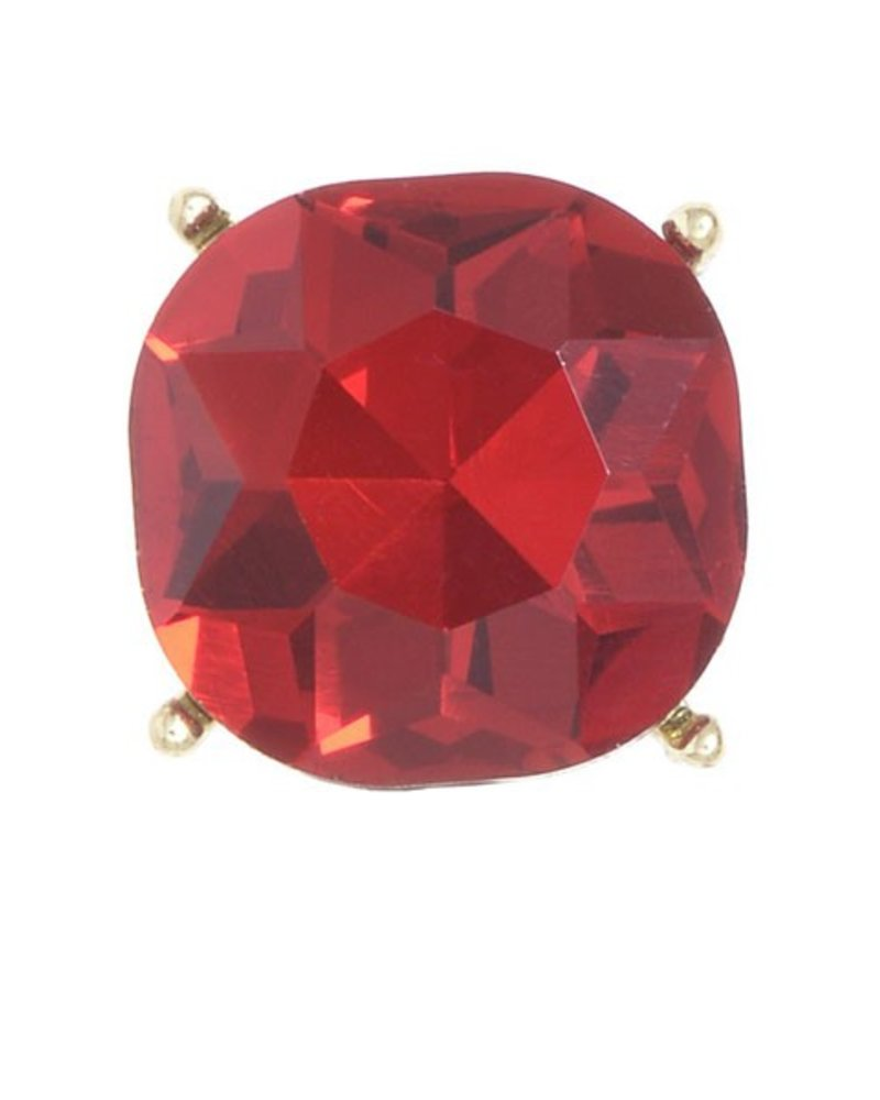 Chic Giant Crystal Stud Earrings In Red