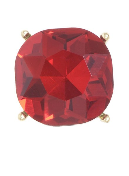 Chic Giant Crystal Stud Earrings In Red