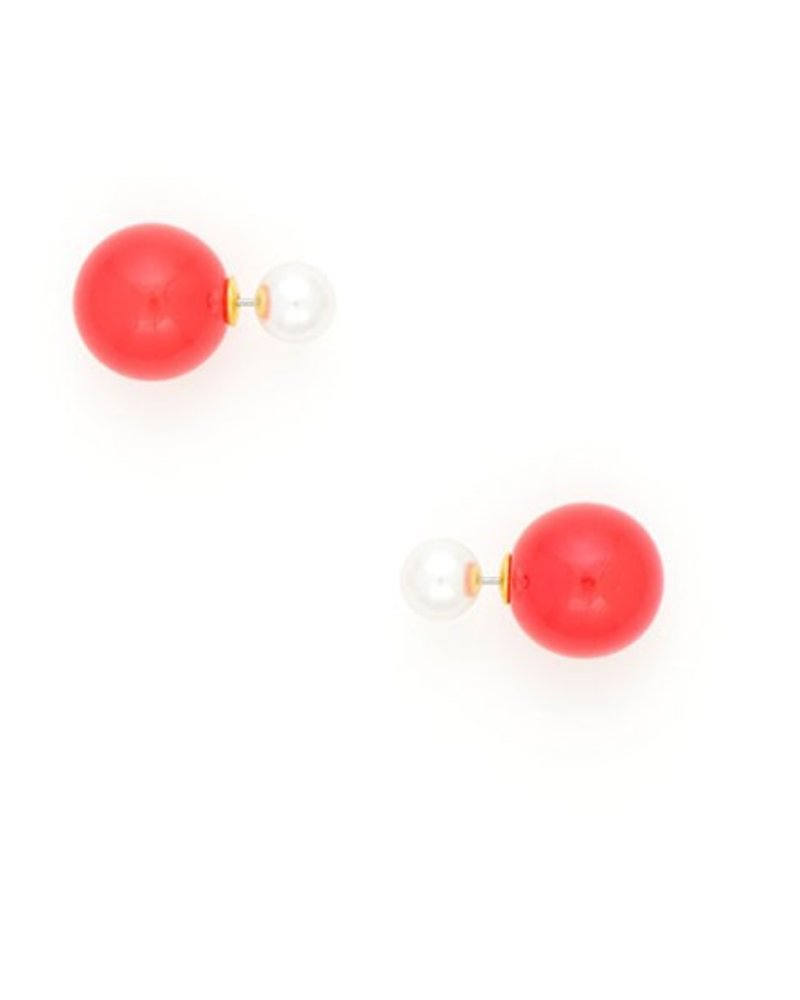 Pearlfection Pairing Peek-A-Boo Earrings In Red