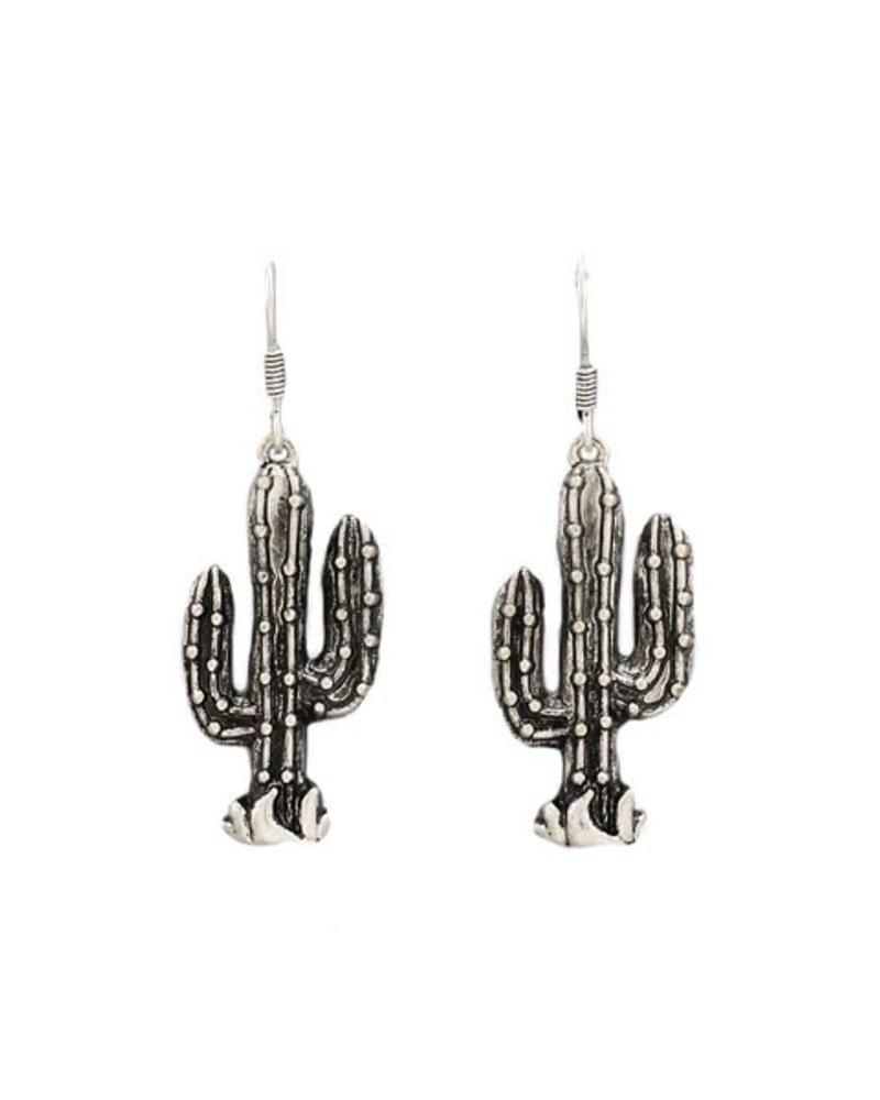 Cute Cacti Earrings In Aged Silver