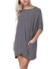 Oversized Tunic Dress In Black Stripes