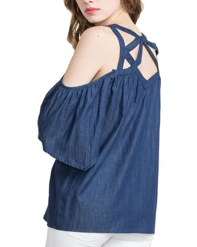 Strappy Top In Dark Denim