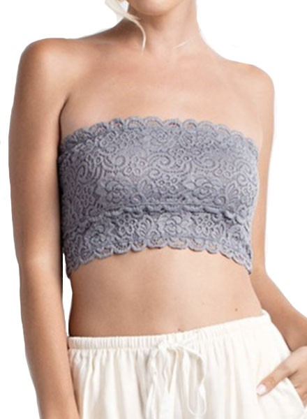Lace Bandeau In Grey