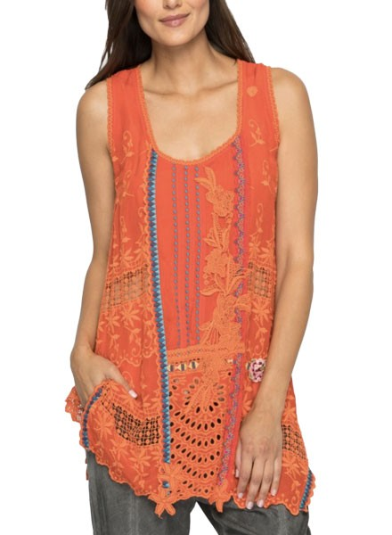 Johnny Was Mixed Embroidered In Electric Coral
