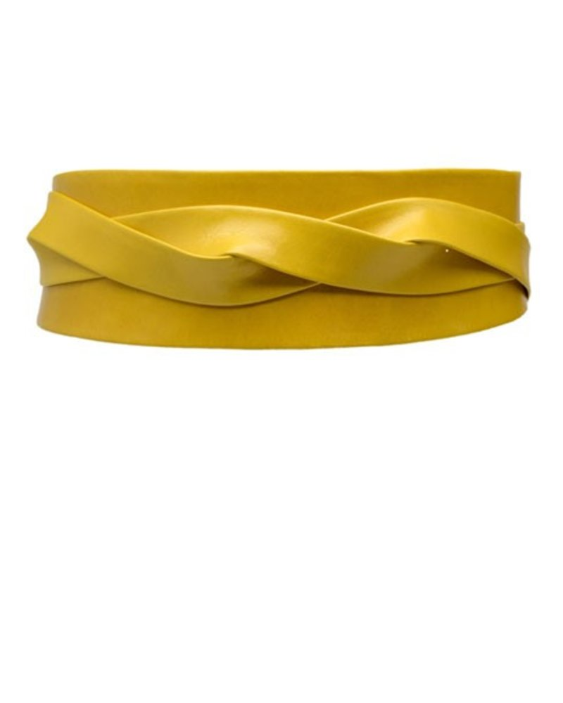 Ada's Wrap Belt In Mustard Leather