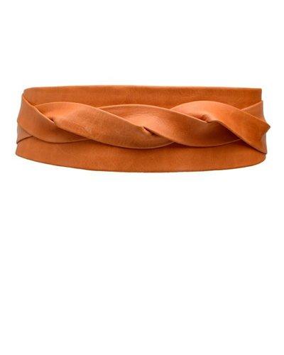 Ada's Wrap Belt In Papaya Leather