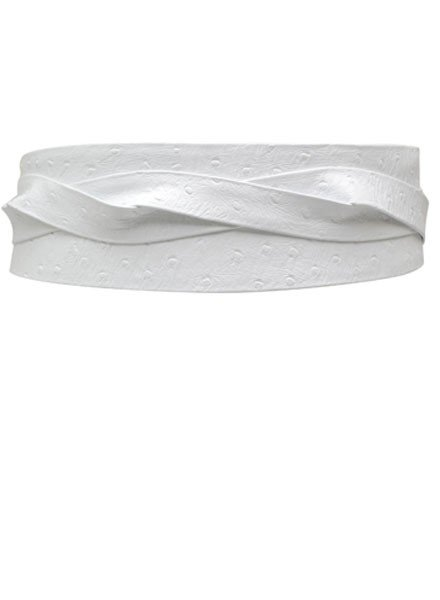 Ada's Wrap Belt In White Ostrich Leather