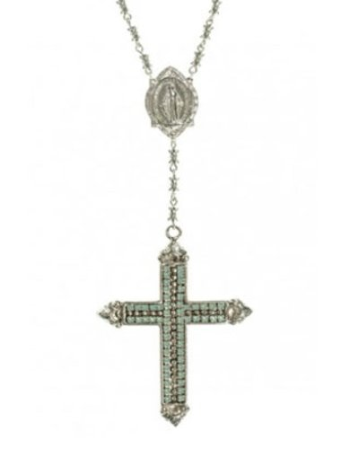 Resurrection Crystal Cross Rosary In Silver & Pacific Opal