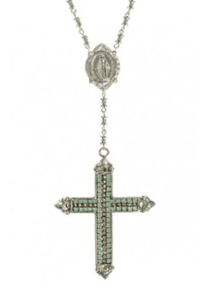 VSA Designs Resurrection Crystal Cross Rosary In Silver & Pacific Opal