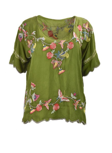 Johnny Was Alivia Blouse In Forest Green