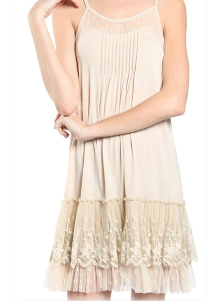Lacey Slip Dress In Cream