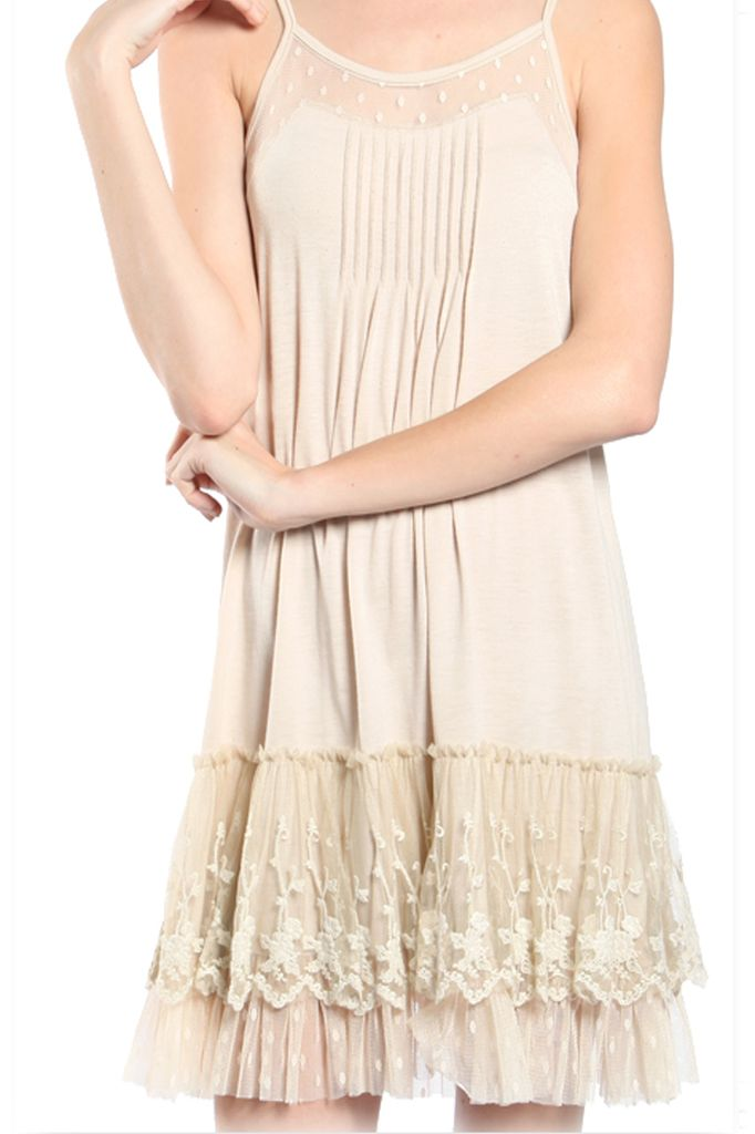 Lacey Slip Dress In Cream Shady And Katie