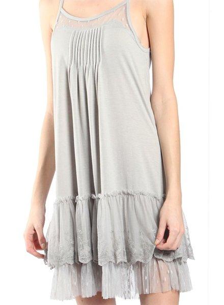 Lacey Slip Dress In Grey