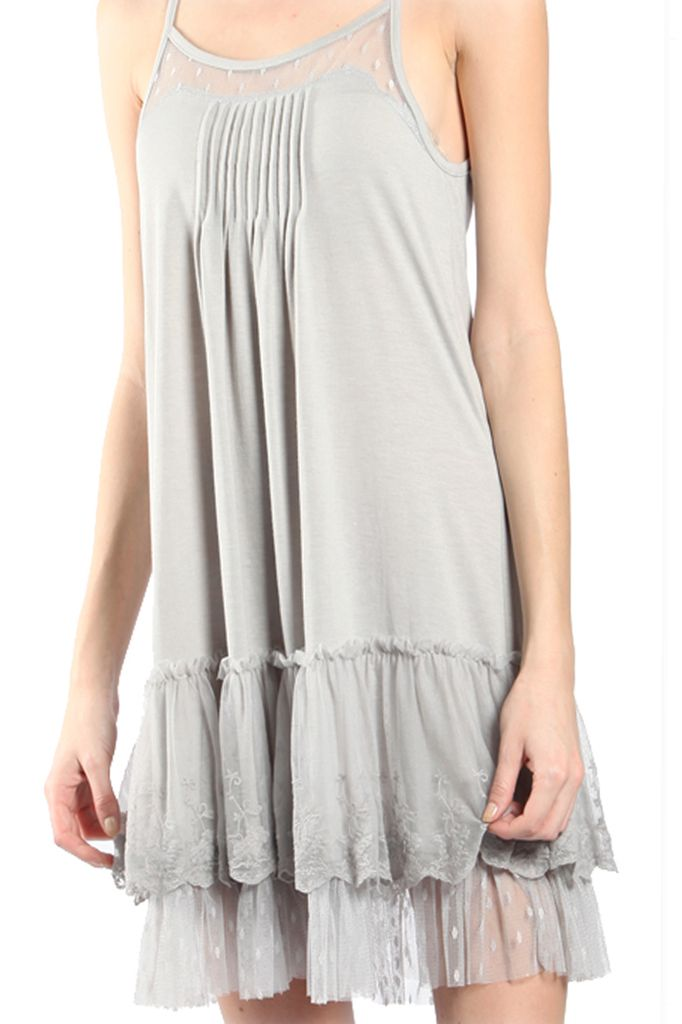 Lacey Slip Dress In Grey Shady And Katie
