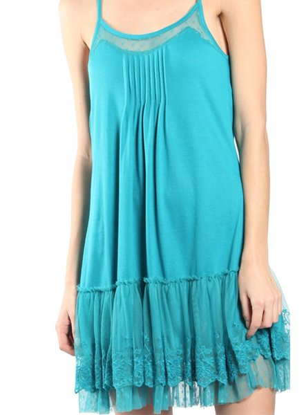Lacey Slip Dress In Teal