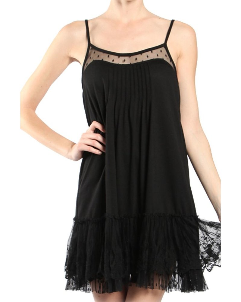 Lacey Slip Dress In Black