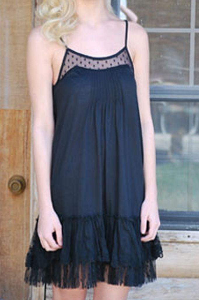 Lacey Slip Dress In Black