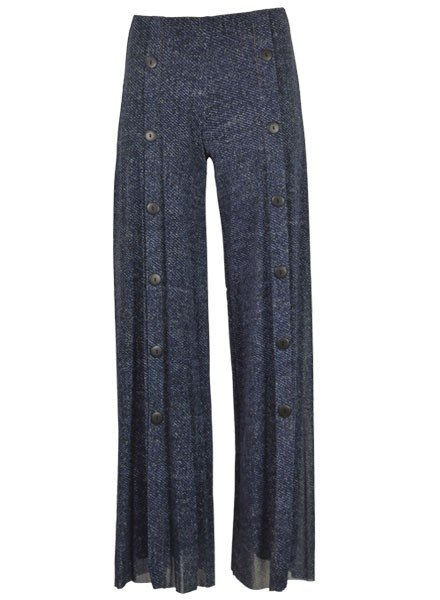 Petit Pois' Button Front Pants In Dark Denim