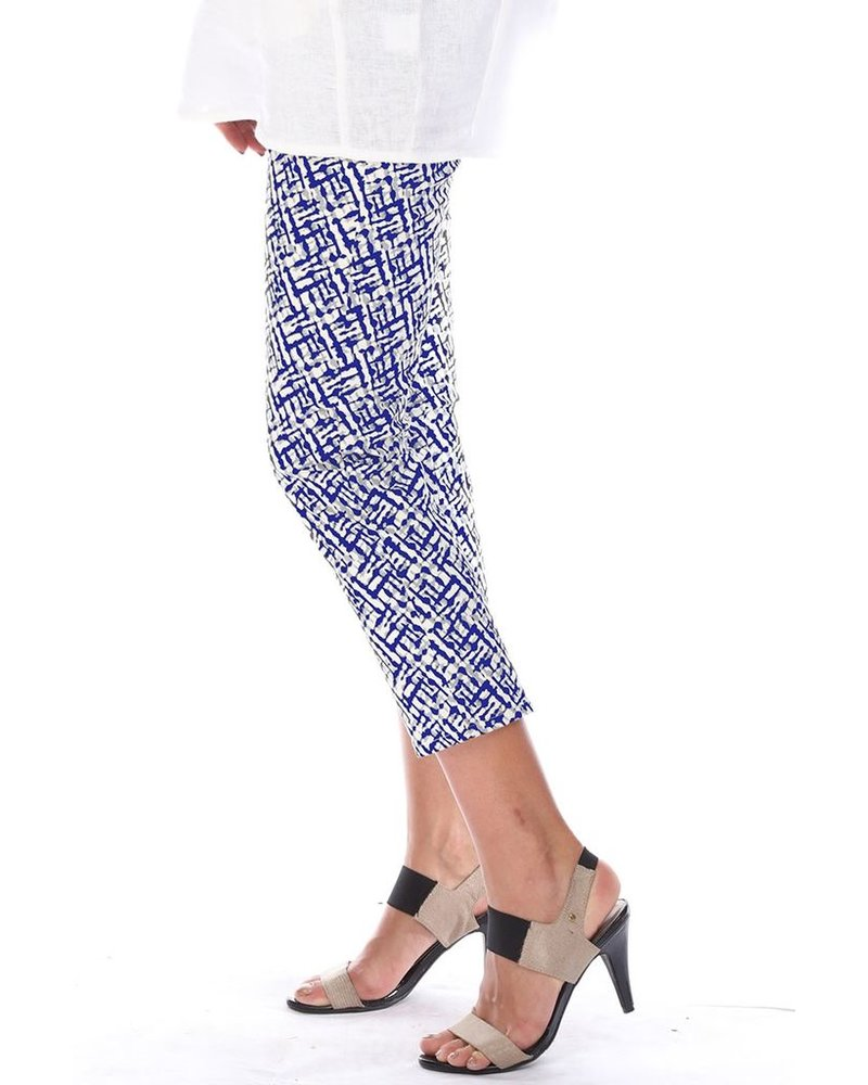 Stretch Pull On Crop Pants In Navy & White