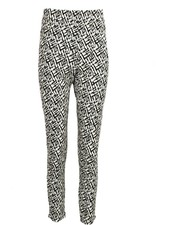 Stretch Pull On Crop Pants In Black & White