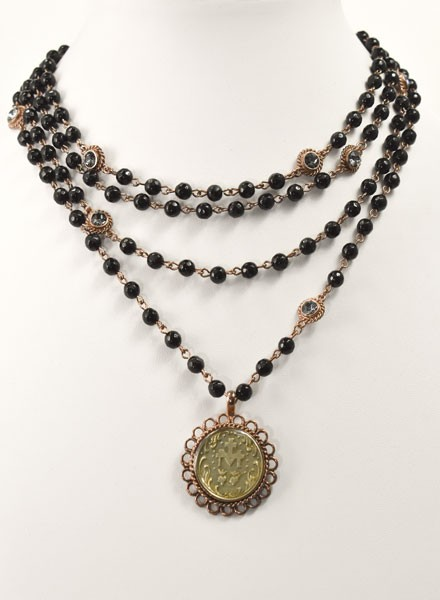 M Lux Magdalena In Rose Gold & Black Agate