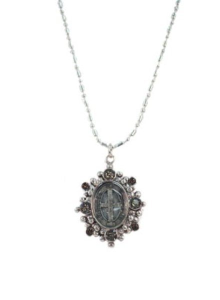 VSA Designs Virgins, Saints & Angels San Benito Oval Charm In Silver and Greige Quartz