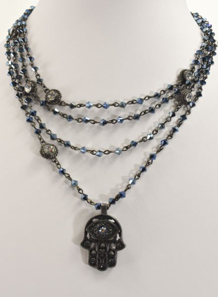 Virgins Saints & Angels Hamsa Magdalena In Gunmetal & Metallic Blue