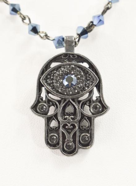 Virgins Saints & Angels Hamsa Magdalena In Gunmetal & Metallic Blue