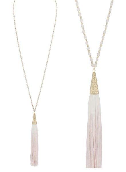 SMTrading Gold & Blush Beads With Blush Tassel