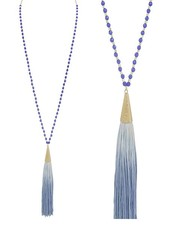 Gold & Blue Beads With Blue Tassel