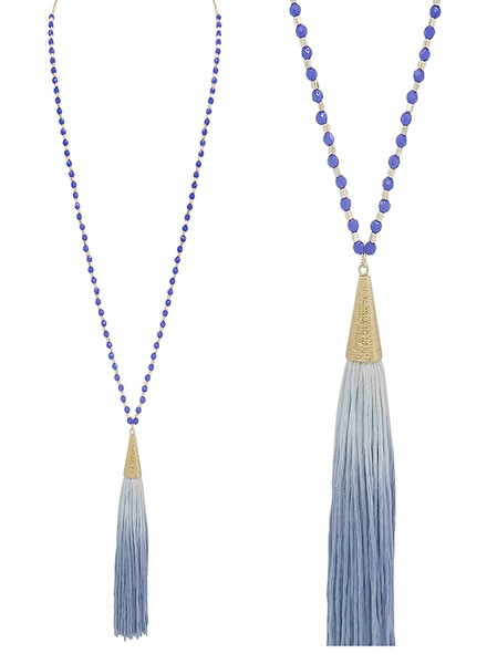 SMTrading Gold & Blue Beads With Blue Tassel