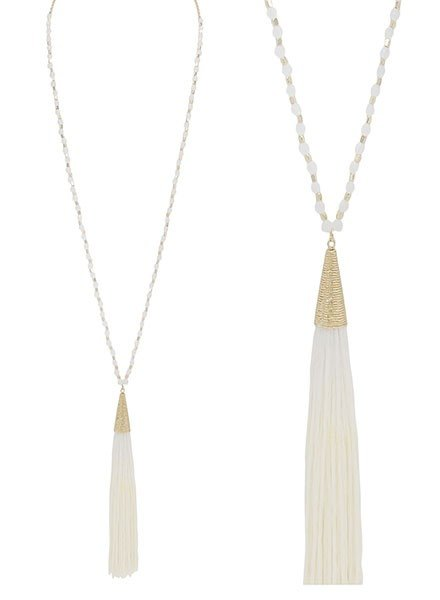 SMTrading Gold & Ivory Beads With Ivory Tassel