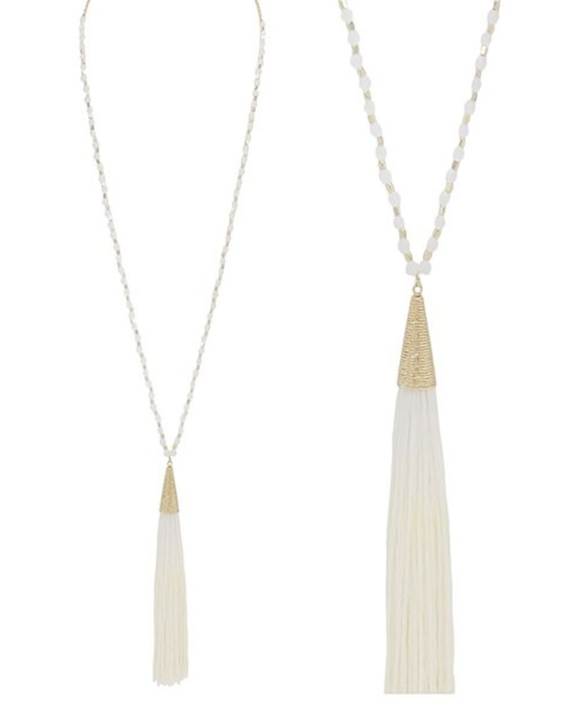 Gold & Ivory Beads With Ivory Tassel