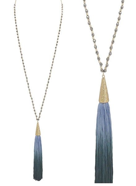 SMTrading Gold & Jet Beads With Dark Blue Ombre Tassel