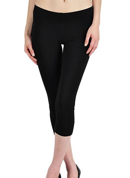 Basic Capri Leggings In Black