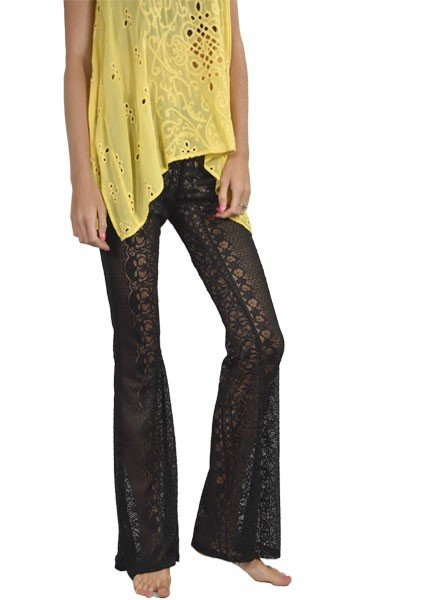 Lace Bell Bottoms In Black