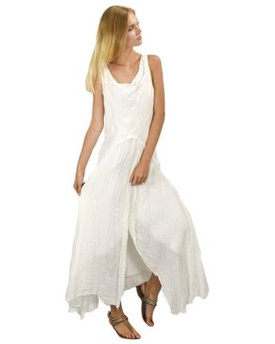 Luna Luz Long Linen Gauze Dress In White