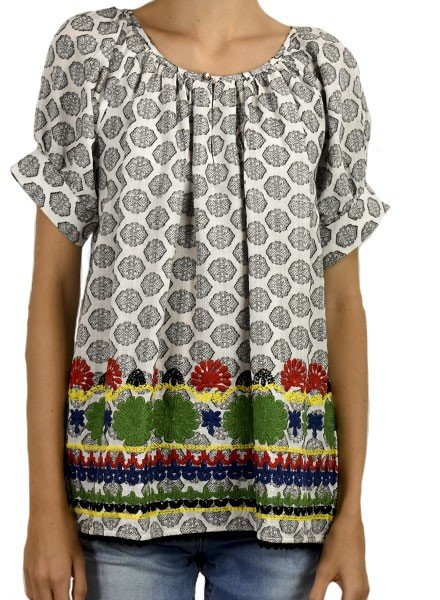 Ivy Jane's Embroidered Daisy Peasant Blouse