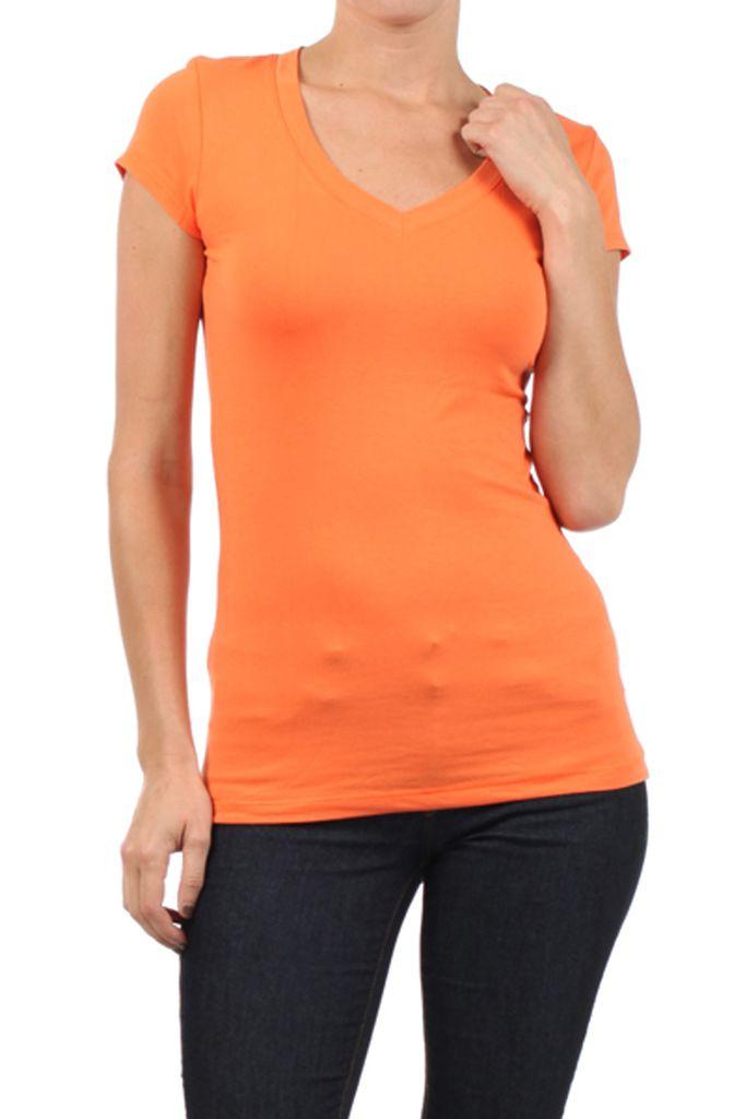 In-Style V-Neck Tee In Orange