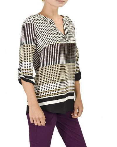 Renuar's Dots & Dash Blouse In Grape