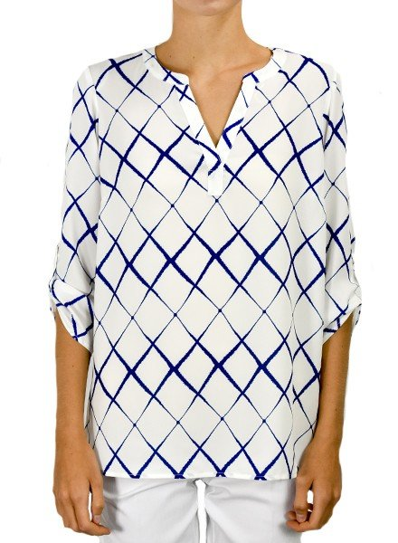 Renuar's Wavy Diamond Blouse In Royal Blue