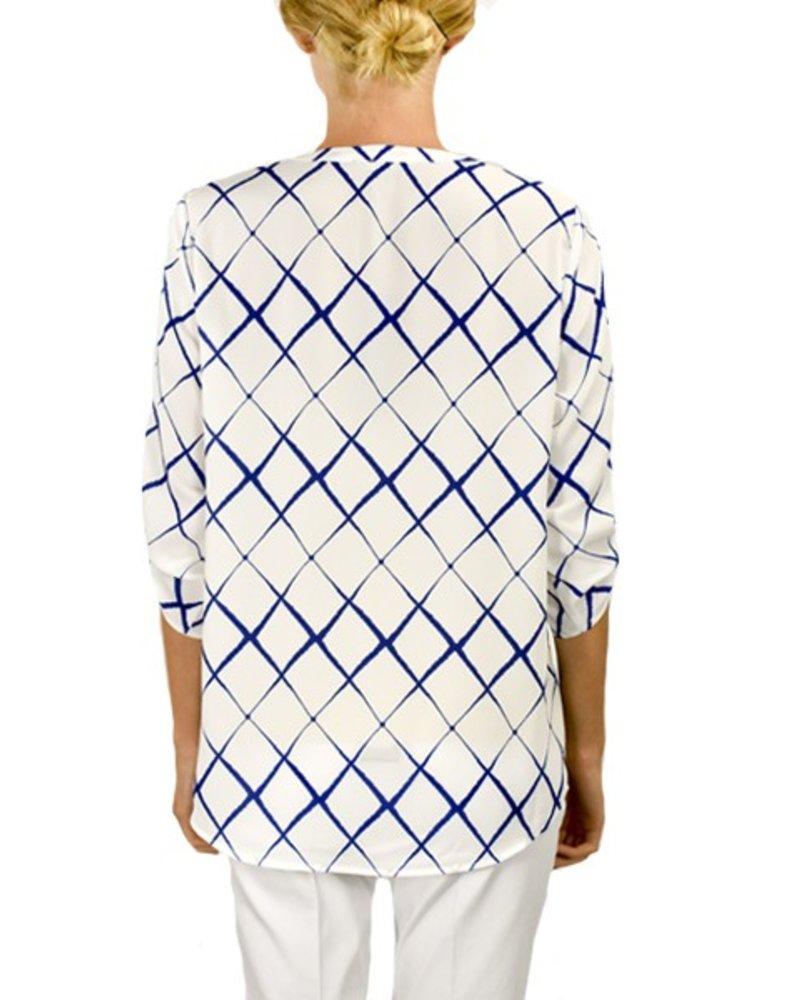 Renuar Renuar's Wavy Diamond Blouse In Royal Blue