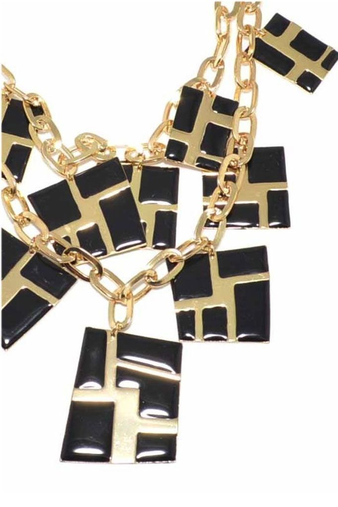 Gold with Black Enamel Charm Necklace