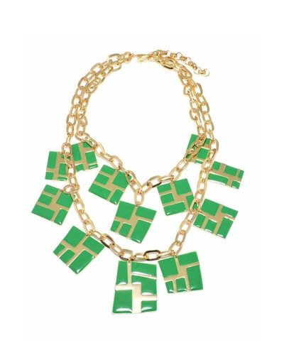 Gold with Green Enamel Charm Necklace