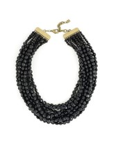 Beaded Bib Necklace in Black