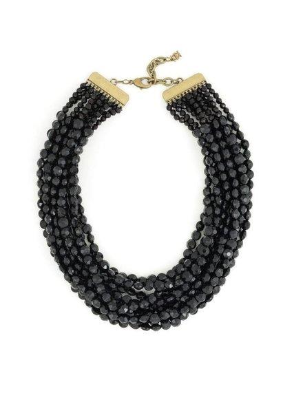 Beaded Bib Necklace in Black