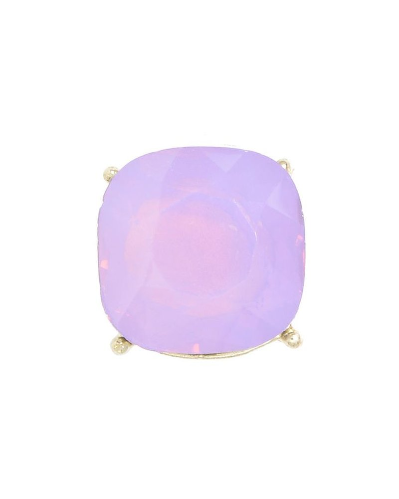 Chic Giant Crystal Stud Earrings In Light Purple
