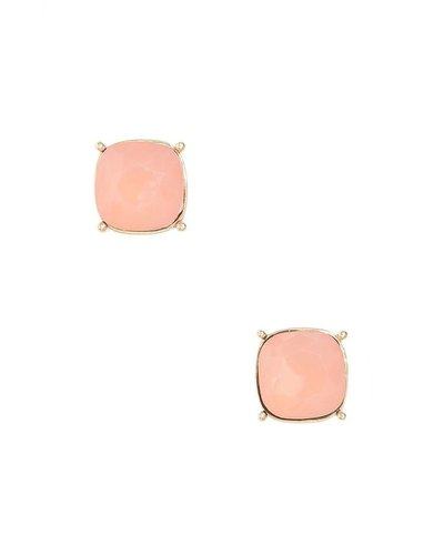 Chic Giant Crystal Stud Earrings In Peach Opal