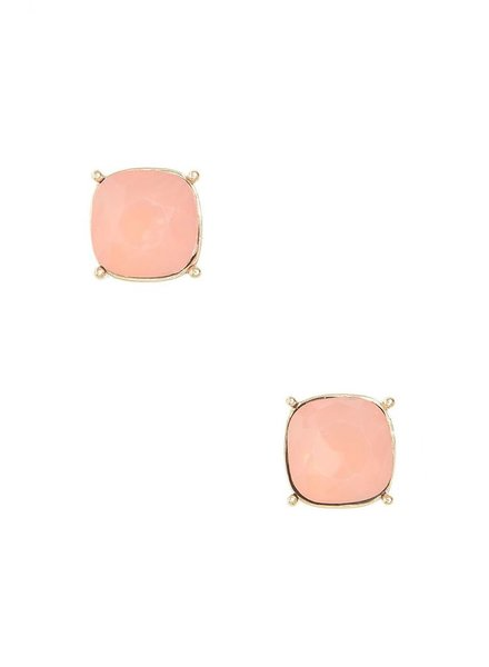 Chic Giant Crystal Stud Earrings In Peach Opal