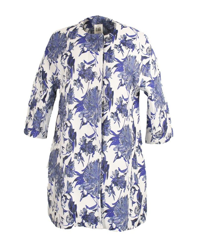 Jacquard In Denim Floral Coat